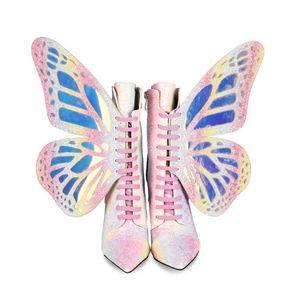 شعبي الفراشة عقدة مختلط الألوان المرأة الأحذية الاتجاه العليا رقيقة كعوب أحذية المرأة الصيف الترتر أحذية الجدة