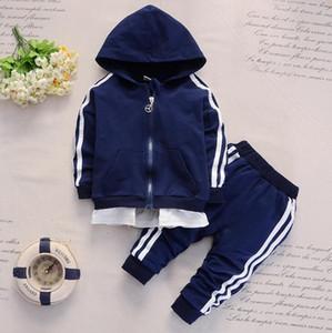 Весна и осень 1-5 лет младенца два бара детской одежды Длинные рукава толстовки двухсекционные брюки 2 шт.