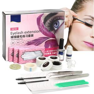 Individual False Eyelash Extension Tool C Curl Lash Glue Tweezer Jade Stone Kit Semi Permanent Makeup Practice Graft Lashes Set