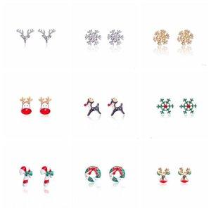 Charms Charms Orecchini Diamante albero orecchini Bells Snowflake Snowflake Orecchino in lega squisita orecchio clip di natale orecchini XAMS Decor HWC3036