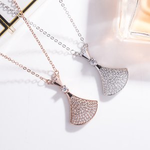 s925 sterling silver small skirt with full diamond double-layer fan pendant female small fan rose gold necklace with diamond collarbone