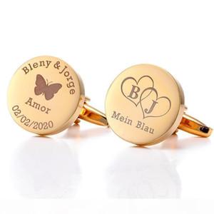 Personalized Gold Cufflinks Wedding Groom Gifts Customized Suit Shirt Cuff links Womens Jewelry Man Cuff Buttons Cufflink