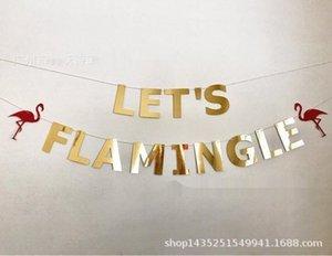 AqZ2o Flamingle doré Flamingle bachelor décoration couleur hawaïenne Drapeau partie Couleur Drapeau-tirant New-BSqj3 suspendu flag Let