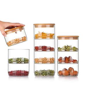 Casa moderna semplicità impilabile trasparente di alta borosilicato Glas Storage Cucina Bottiglia Cibi Bulk contenitore sigillato con coperchio