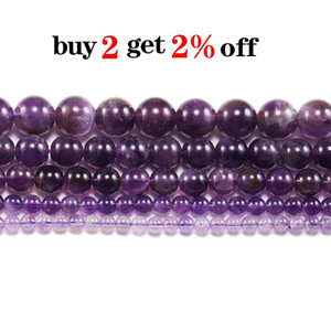 1strand Lot 4 6 8 10 12 Mm Natural Purple Amethystes Crystal Stone Round Beads Loose Spacer Bead For Jewelry Making Diy H bbysBL