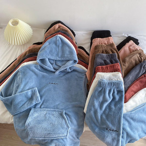 Womens 2pcs Winter Warm Fleece Hooded Long Sleeve Pullover Hoodies Sweatshirt Pants Casual Set Loungewear