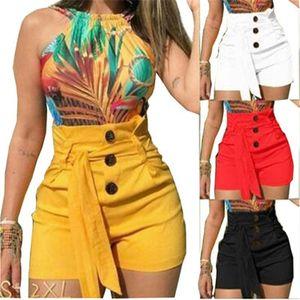 2021 летние женские брюки с высокой талией Широкие брюки для ног оружия повседневная горячая распродажа женского сплошного цвета коротким молнии вверх по талии тонкие короткие штаны
