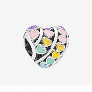 Colorful Love hearts CHARM Jewelry Making Accessories with Original box for Pandora 925 Sterling Silver DIY Bracelet Charms