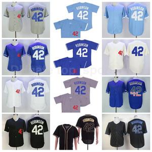 트레일러 Baseball 42 Jackie Robinson 빈티지 저지 1955 남자 FlexBase 멋진 기지 모든 스티치 팀 블루 화이트 블랙 고품질