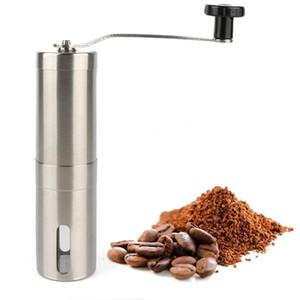 Silver Coffee Grinder Mini Aço Inoxidável Aço Inoxidável Manual De Café Bean Burr Moinhos Moinho Ferramenta Cozinha Ferramenta De CroCus Moedores Mar Sea Envio DHE3803
