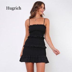 Повседневные платья летняя мода слинг длинное платье женщин 2021 вечеринка женские оборки Vestidos плюс размер естественный твердый