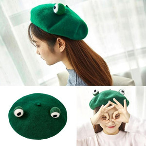 Japanese Women Cute Green Frog Eyes Beret Cap Winter Warm Faux Wool Kawaii Vintage Artist Painter Cosplay Beanie Hat