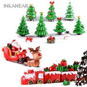 INKANEAR artificielle arbre de Noël Décoration Figurines Miniatures Sled renne terrariums cadeau Résine de bricolage Accessoires