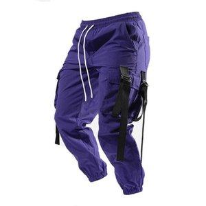 2021 erkek Yüksek Sokak Eğilim Yüksek Kalite Çok Cep Gevşek Açık Koşu Moda Rahat Hip Hop Motosiklet Pantolon