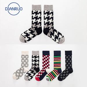 Dianruo 2020 kişilik şerit çorap pamuk erkekler unisex mürettebat kaykay çorap komik desen kaykay hediye R584