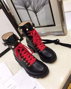 New style rhinestone pearl chunky heel short boots female thick-soled Martin boots British style high heel leather single boots ins
