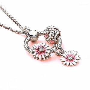 Pendentif Colliers O Charmes rondes Bijoux Bead Bricolage Making Daisy Charm Collier Collier Bracelet Bracelet Cadeau de mode pour Femme Girl1
