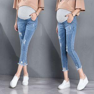 De nouveaux vêtements de maternité douce maternité élastique Skinny Jeans Pantalons de grossesse Mode Pantalons Trou Femmes enceintes Denim Jeans Pantalons C1005