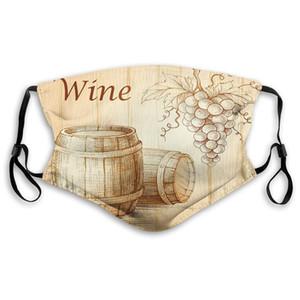 Удобная маска ветрозащитная, вино, деревянные бочки и гроздь винограда на дерево Backdrop Ботаники Harvest Темы произведении, коричневый персик, отпечатаны на лице