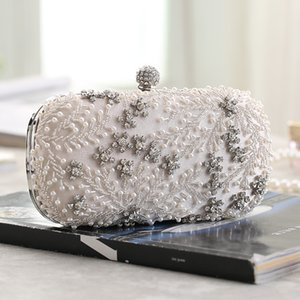 das mulheres Crystal Pearl Bolsa da embreagem de luxo Handbag bordado Evening casamento de Ombro Bridal Bag ZD1529 Q1106