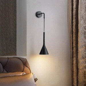 Nordic Bedside Wall Pendant Lights E27 LED Bedroom Wall Lamp for Living Room Stair Hotel Kitchen Lights fixture Black white gray