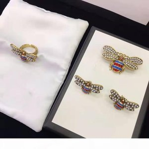 Popular Women Jewelry Gold Plated CZ Pearl Little Bee Earrings Brooch Pin Ring for Girls Women for Party Wedding Nice Gift