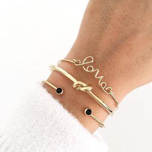 Wukalo Fashion Gold Color Letter Love Knot Adjustable Opening Charm Bracelet Set for Women