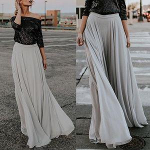 Vintage Women Retro Chiffon Pleated Double Layer Skirt New Ladies Long Elastic Skirts Hot Sale Gray High Waist Maxi Skirts