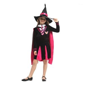 Huihonshe Enfants Halloween Witch Costume Filles Magicien Cosplay Cosplay Enfants Rôle d'étudiant Play Robe de mascarade Robe Cloak1