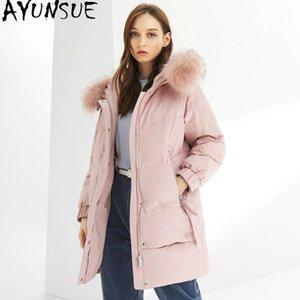 Down Jacket inverno caldo cappotto femminile Giacca AYUNSUE Donne cane di Raccoon vestiti collare più le donne Parkas Mujeres Abrigos