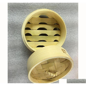Mini canasta de vapor de bambú de 3.5 pulgadas con tapa para masa hervida de carne de sopa baozi dim sum vegetal cocinero cocinero jlliok dh_niceshop