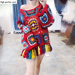 New 2021 Hot Sales Ladies Boho Blouse Hollow-out Sweater Jumper Fashion Casual Pierced Pullover Women Autumn Summer Knitwear