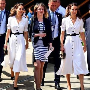 Kate Middleton Высокое Качество Новые Женские Моды Партия Повседневная Офис Старинные Элегантные Шикарные Белые Одиночные Грудные Платье ветровки 201102