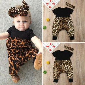 Newborn Toddler Baby Girls Leopard print Clothes Romper Jumpsuit 2PCS Outfits