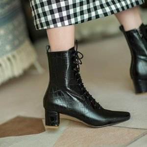 Mordoan Echte Kuh Lederstiefel Frauen Dick-Sohlen Flache Ferse 2021 Herbst Neue Britische Style Square Toe Ankle Boots Frauen