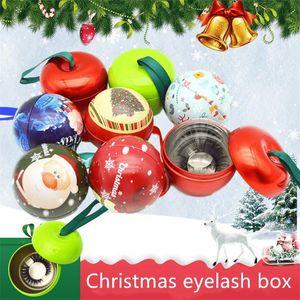 New Christmas Design Mink Eyelashes Round Box False Eyelashes Packaging Empty Lash Case Custom Logo Eyelash Box without Eyelashes Lash Box