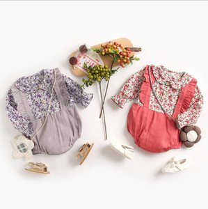 INS New Baby Girl Niños Escalada Romper de manga larga O-cuello Full Flower Patchwork Ramper 100% algodón Niña Niño Rampers 0-2T