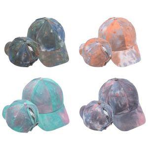 New Ponytail Baseball Cap Women Washed Snapback Golf Caps Messy Bun Hats Casual Summer Running Sport Hat Fashion Tie Dye Cap OWB1343