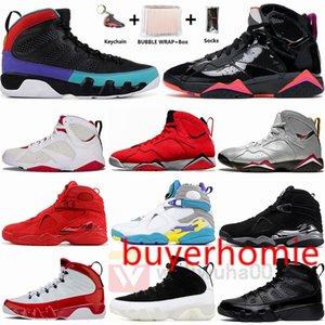 Jumpman 9 9s Dream It Do UNC 8 8s Quai SOUTH BEACH PLAYOFF 7 7s black patent Bordeaux Hare Mens Basketball Shoes Size 13 With Box