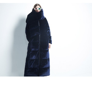 European station velvet down jacket winter new fashion thickening long over-the-knee jacket