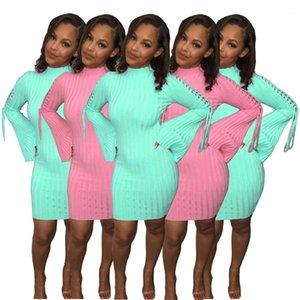 Bandge Мини Платья Мода Повседневная Женская Одежда 2021 Новые Прибытия Женщины Одежда Белл Рукав Сплошной Цвет