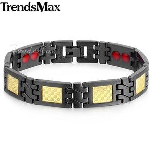 Dropshipping 2020 Black Gold Men's Health Bracelets Bangles Magnetic Power Stainless Steel Bracelet Jewelry for Man 21cm KB581