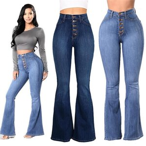 Womens Jeans Plus Size Women Wide Legging Pants With Button Autumn Fashion Retro Ladies Denim Trousers High Waist Sexy