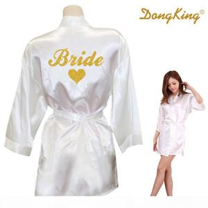 DongKing Bride Robe Bride Heart Kimono Golden Glitter Print Robes Wedding Preparewear Gift Bridal Party Faux Silk Satin Dress