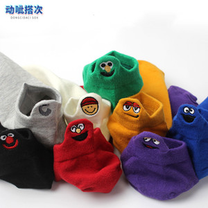 Expresión coreana Amantes de la boca poco profunda Sesame Street Cotton Calcetines