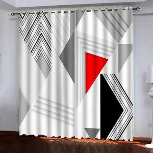 Geometría 3D cortinas estereoscópicas Cortinas de ventana 3D para sala de estar Habitación personalizada