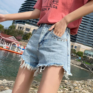 Summer New Style Washing with Holes Cool Frayed Denim Shorts Women's High-waisted Slimming Playful Straight-Cut Loose Pants
