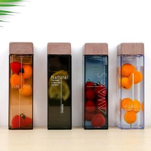 New Fashion Water Bottle Square Shape With Wood Grain Lid Plastic Sport Bottle Lady Kids Unbreakable Kettle BPA FREE