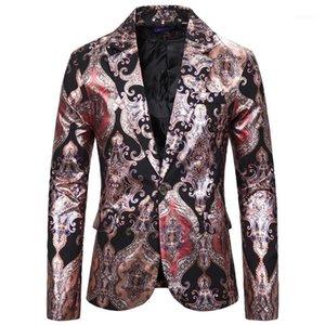 Мужская красная черная пейсли Print Tuxedo Blazer Куртка Slim Fit One Book Men Blazer Party Dance Stage Singers Costume Homme XXL1