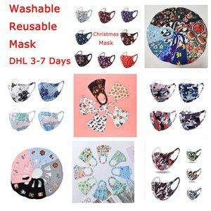DHL Chrismas Maske 3D-Design-Gesichtsmaske für Erwachsene Kinder-Halloween Seide Maske Antibakterielle Waschbar wiederverwendbare Masken mit indiviual Tasche schnell
